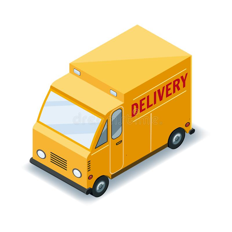 Isometric express cargo truck transportation delivery of goods concept, logistics. Fast delivery or logistic transport royalty free illustration