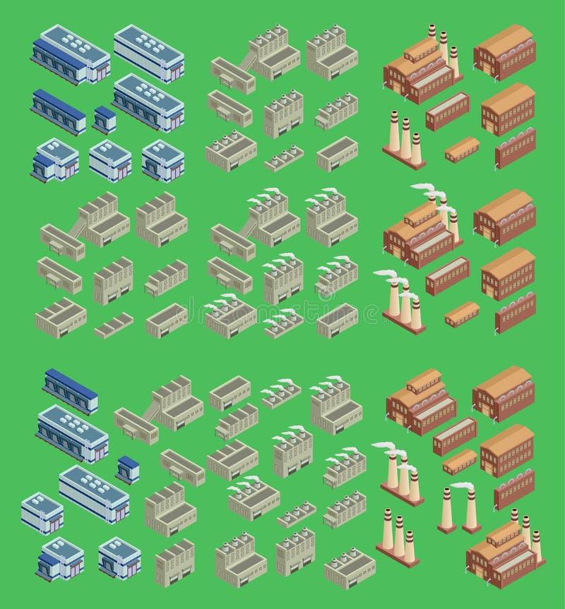 Isometric fabryczna wektorowa ikona która zawiera 3d budynki, sklepu magazyn i inne przemysłowe struktury, ustawia 3d royalty ilustracja