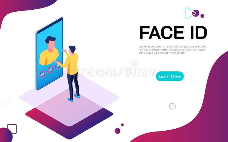Isometric Face Identification digital security technologie concept. Man uses Face ID to unlock the smartphone. Vector Illustration stock illustration
