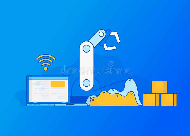 Industry 4.0, Internet of Things. Isometric Factory automation, Industry 4.0, Internet of Things, Vector illustration for connected devices using different stock illustration
