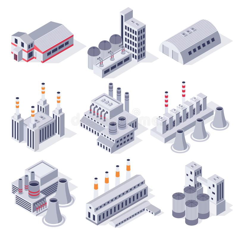 Isometric factory buildings. Industrial power plant building, factories warehouse storage and industry estate 3D vector royalty free illustration