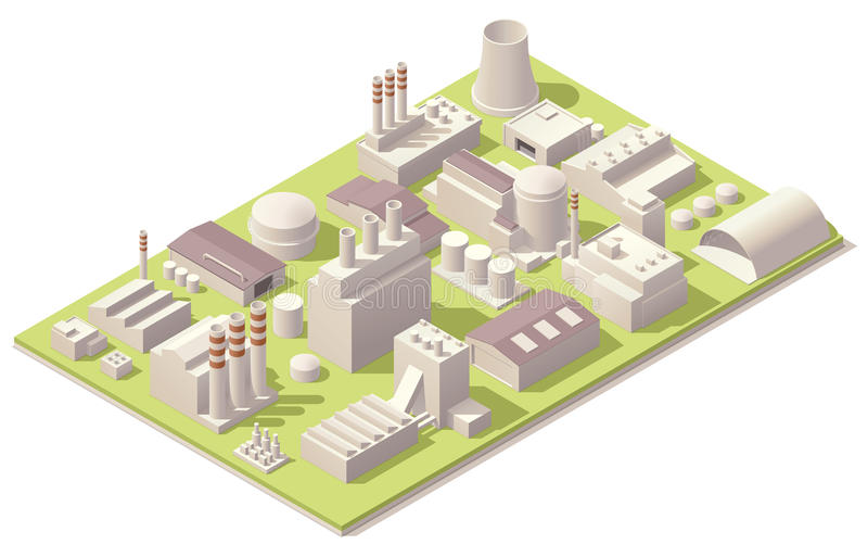Isometric factory buildings stock illustration