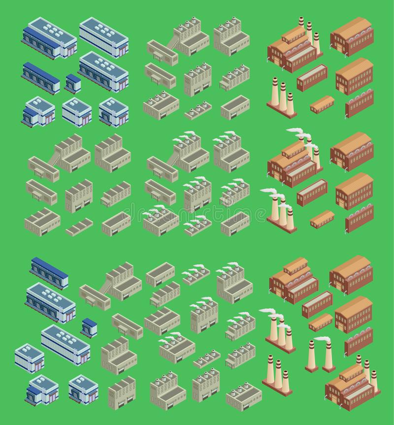 Isometric factory vector icon set which includes 3d buildings, stores warehouse and other industrial structures. 3d. Isometric vector icon set which includes 3d royalty free illustration