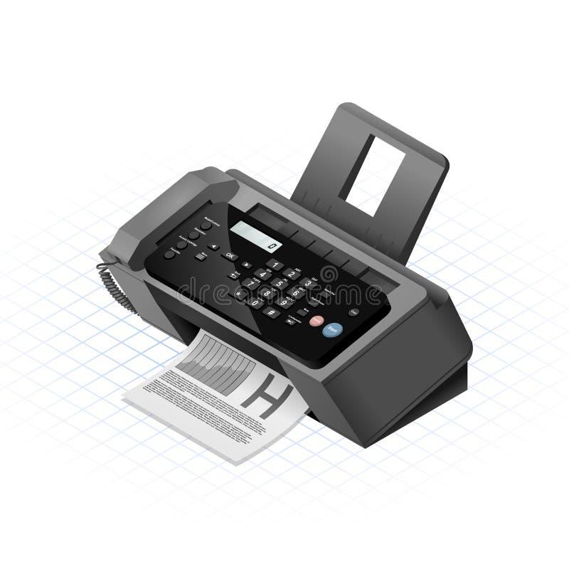 Isometric faks maszyny wektoru ilustracja ilustracja wektor