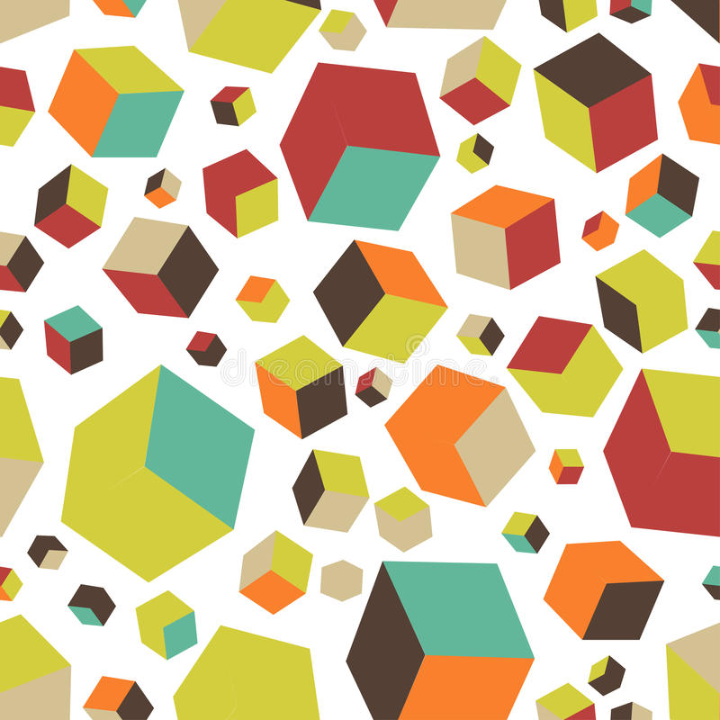 Isometric fall cubes seamles texture background. Vector. EPS stock illustration