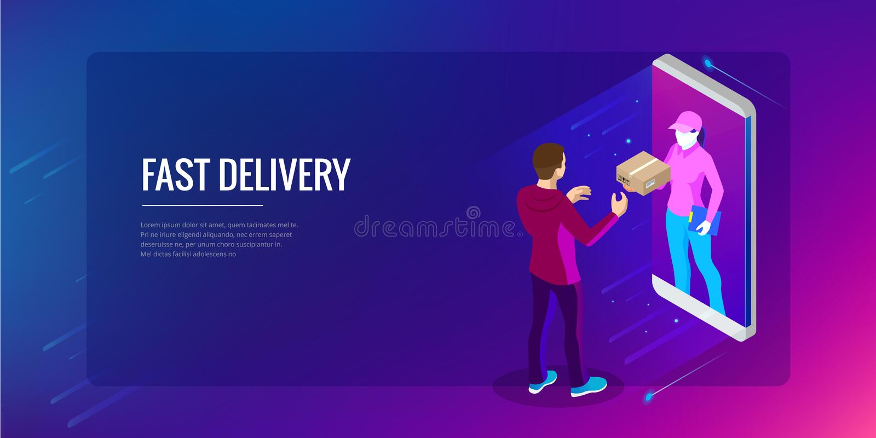Isometric Fast Delivery Service, Online Delivery, Online Shopping, Finance Instrument web banner concept. Modern vector. Illustration foe website or lending stock illustration