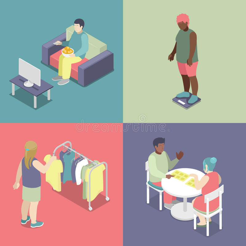 Isometric Fat People Set. Unhealthy Eating Concept vector illustration