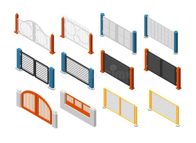 Isometric fences and gates. Rural farm fencing. 3d vector set vector illustration
