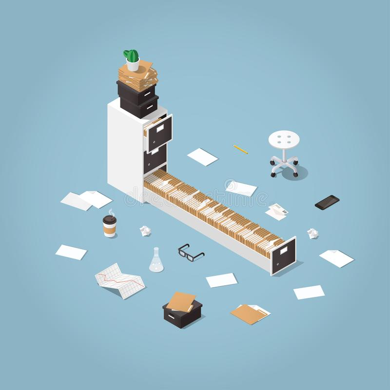 Isometric file storage illustration. Vector isometric concept illustration. Opened file storage cabinet with lost of patients files and documents with medical stock illustration