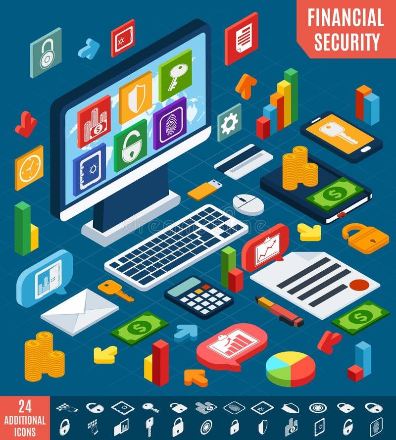 Isometric financial secure set royalty free illustration