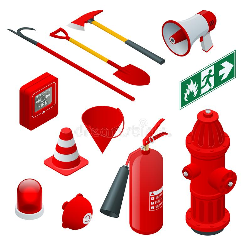 Isometric Fire safety and protection. Flat icons extinguisher, hose, flame, hydrant, protective helmet, alarm, axe. Shovel, conical bucket and exit sign Vector royalty free illustration