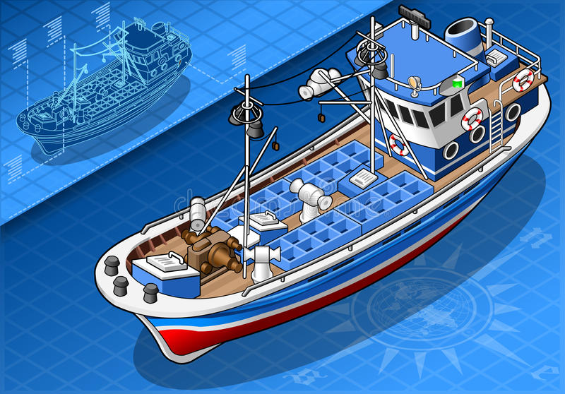 Isometric Fishing Boat in Front View royalty free illustration