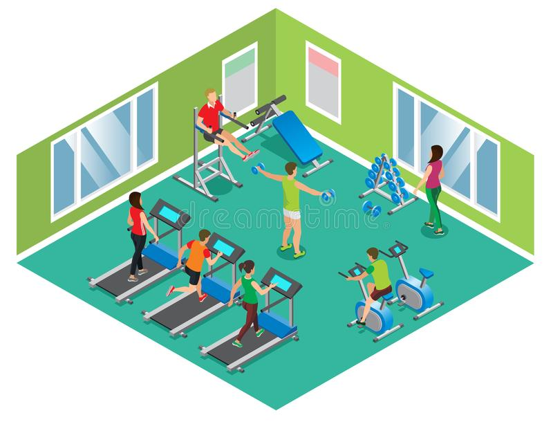 Isometric Fitness Club Concept stock illustration