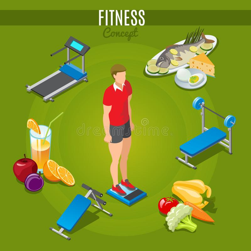 Isometric Fitness Concept vector illustration