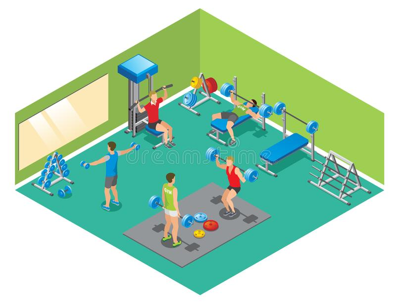 Isometric Fitness Concept stock illustration