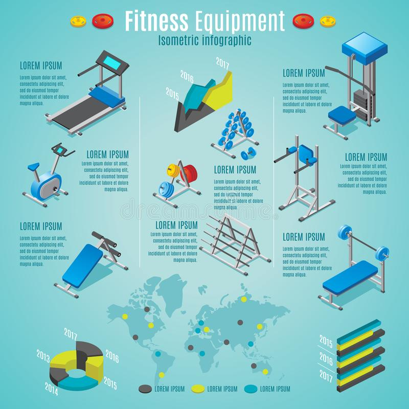 Isometric Fitness Equipment Infographic Template stock illustration
