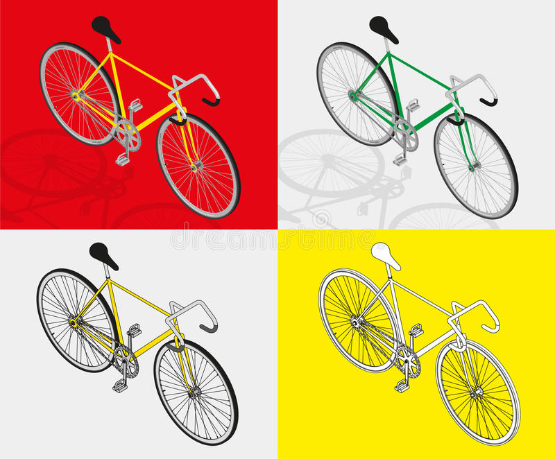Isometric fixed gear bicycle vector illustratio royalty free stock photo