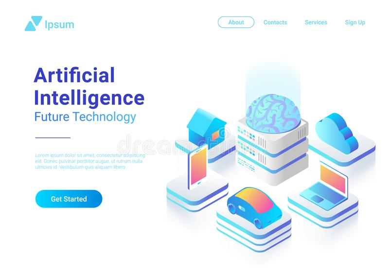 Isometric flat Artificial Intelligence Brain techn vector illustration