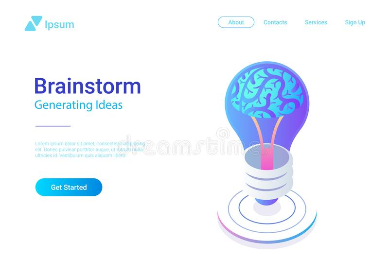 Isometric Flat Brainstorm ideas vector illustratio vector illustration