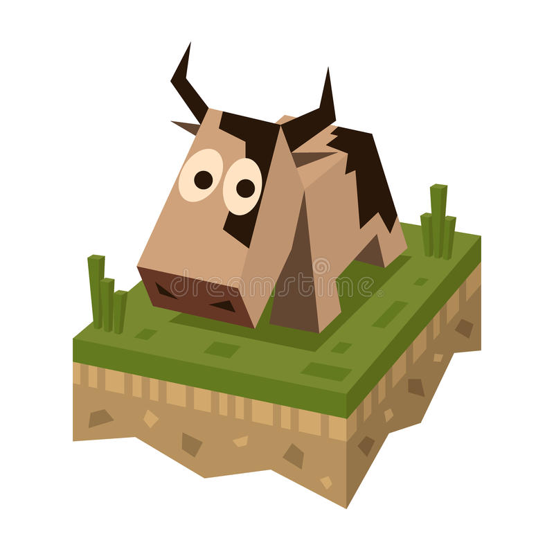 Isometric flat brawn cow on the tile. Of ground with grass. Geometric farm animal in isometry. Cow on 3d land or soil tile vector illustration