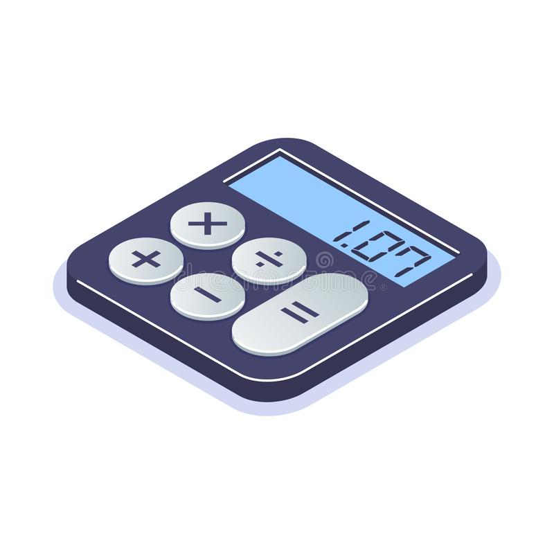 Isometric flat calculator icon. Simple computing machine. Tool for arithmetic operations. Can use for web banner stock illustration