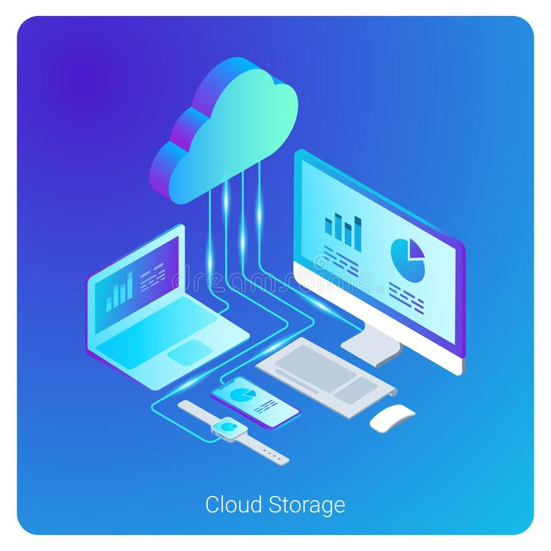 Isometric Flat Cloud Hosting Network Storage vecto. Isometric Flat Cloud Hosting Network vector Banner Design. Online Computing Storage 3D concept. Smartwatch vector illustration