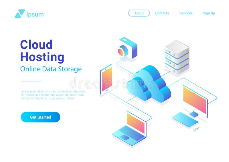 Isometric Flat Cloud Hosting Network vector. Onlin royalty free illustration