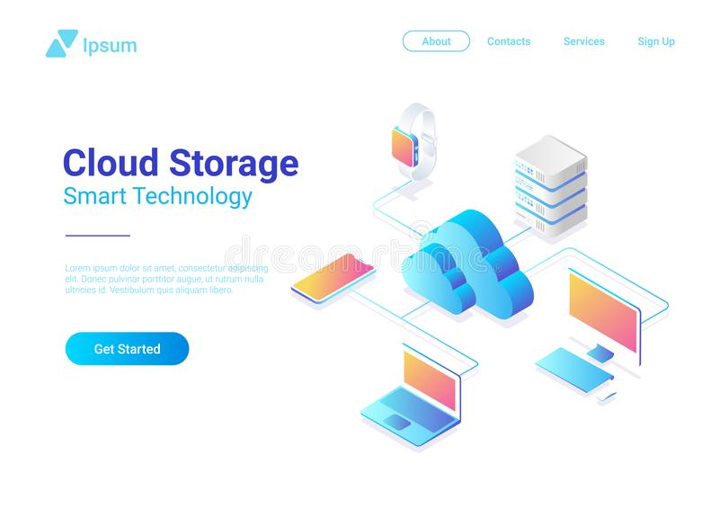 Isometric Flat Cloud Hosting Network vector. Onlin. Isometric Flat Cloud Hosting Network vector illustration. Online Computing Storage 3D isometry concept royalty free illustration