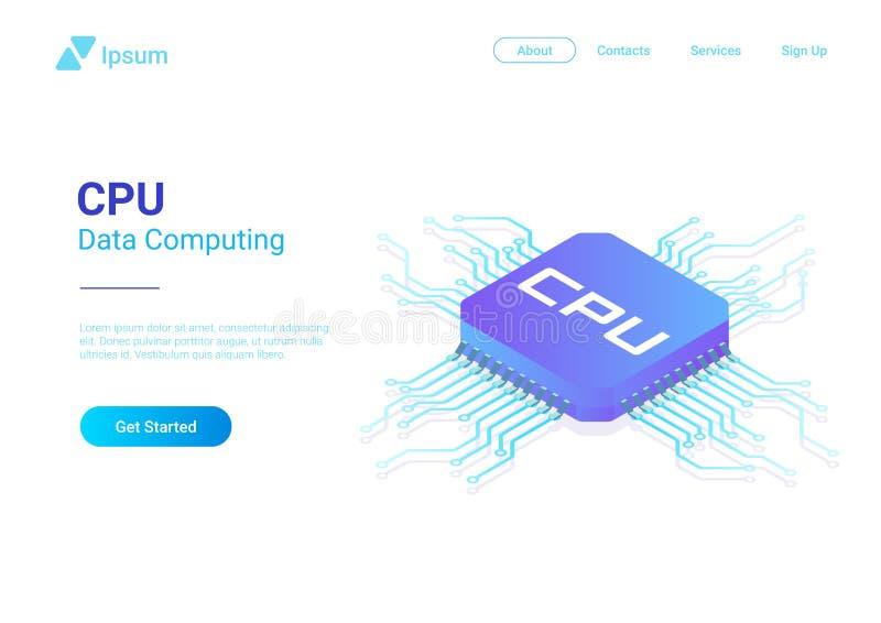 Isometric Flat CPU GPU Processor Chip vector illus. Tration stock illustration