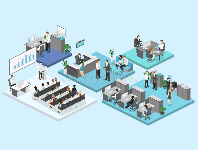Isometric flat 3d abstract office floor interior departments concept . vector illustration