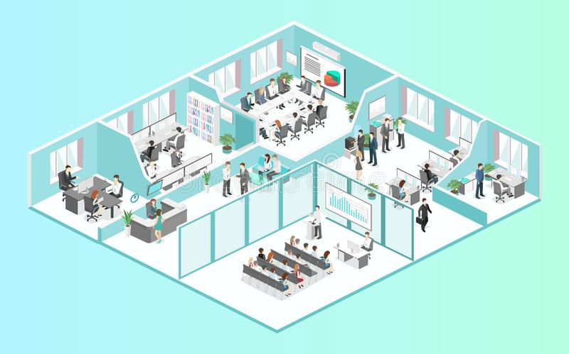 Isometric flat 3d abstract office floor interior departments concept vector. Conference hall, offices, workplaces, director of the office interior royalty free illustration