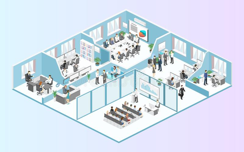 Isometric flat 3d abstract office floor interior departments concept vector. stock photo