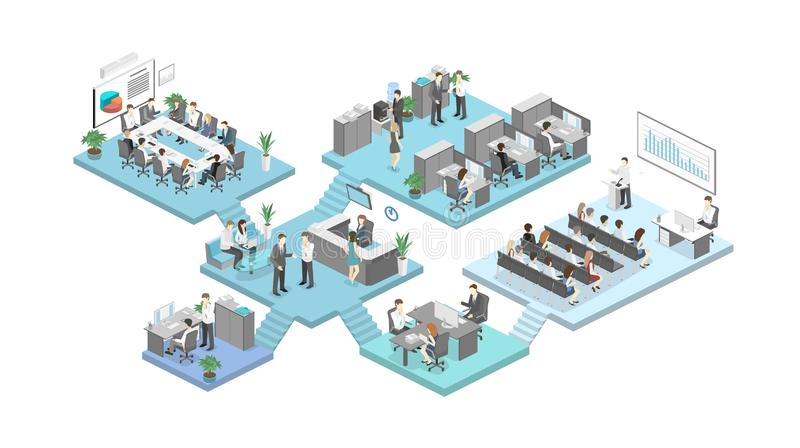 Isometric flat 3d abstract office floor interior departments concept vector. Conference hall, offices, workplaces, director of the office interior stock illustration