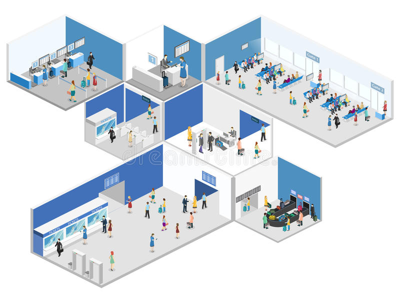 Isometric flat 3D concept interior of airport vector illustration