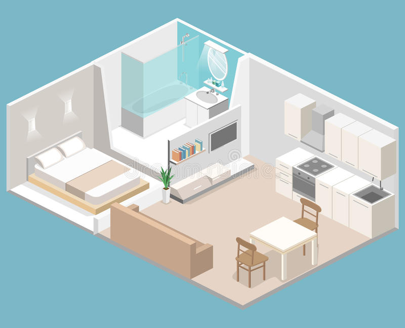 Isometric flat 3D concept interior of studio apartments. With kitchen, bathroom, living room and bedroom vector illustration