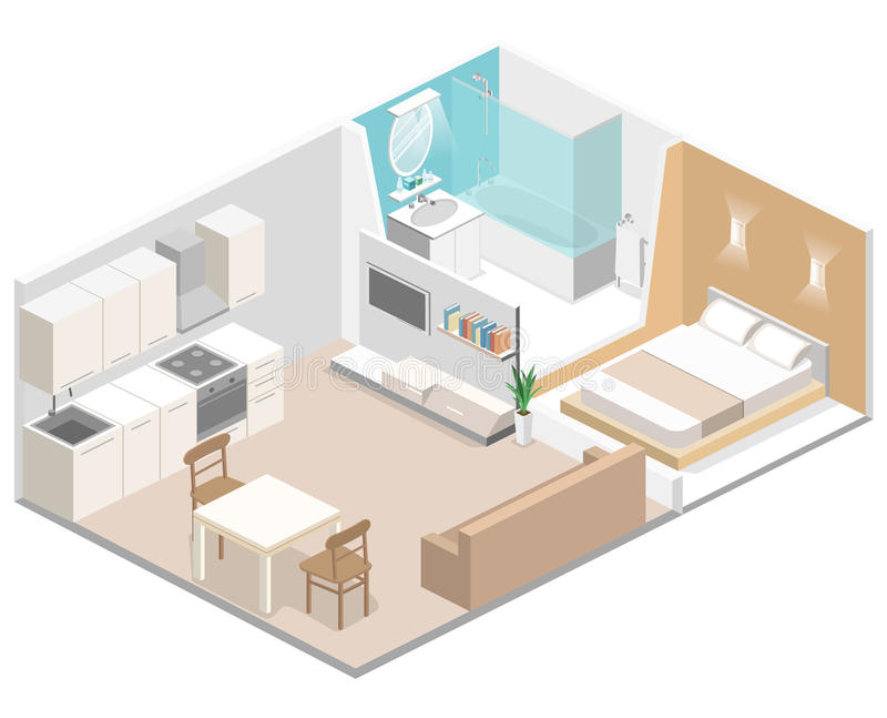 Isometric flat 3D concept interior of studio apartments. With kitchen, bathroom, living room and bedroom stock illustration