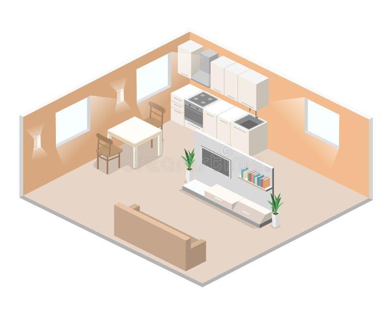 studio apartment inside. Download Isometric Flat 3D Concept Interior Of Studio Apartments  Stock Illustration Of Kitchen
