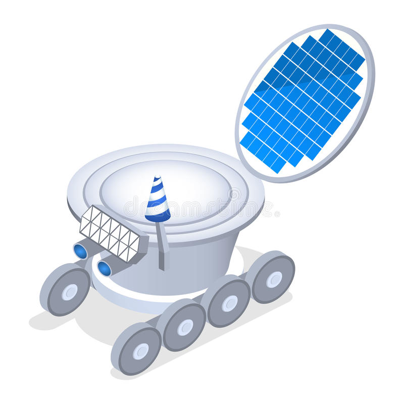 Isometric flat 3D concept lunar rover royalty free illustration