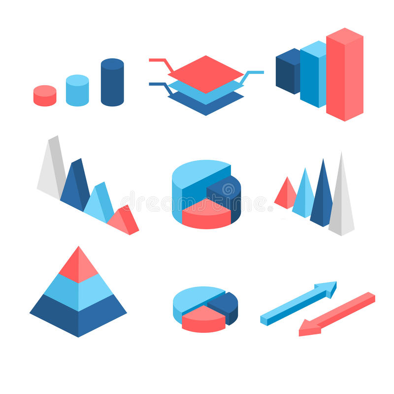 Isometric flat 3D infographic elements with data icons and design elements. Pie chart, layers graphs and pyramid diagram. stock illustration