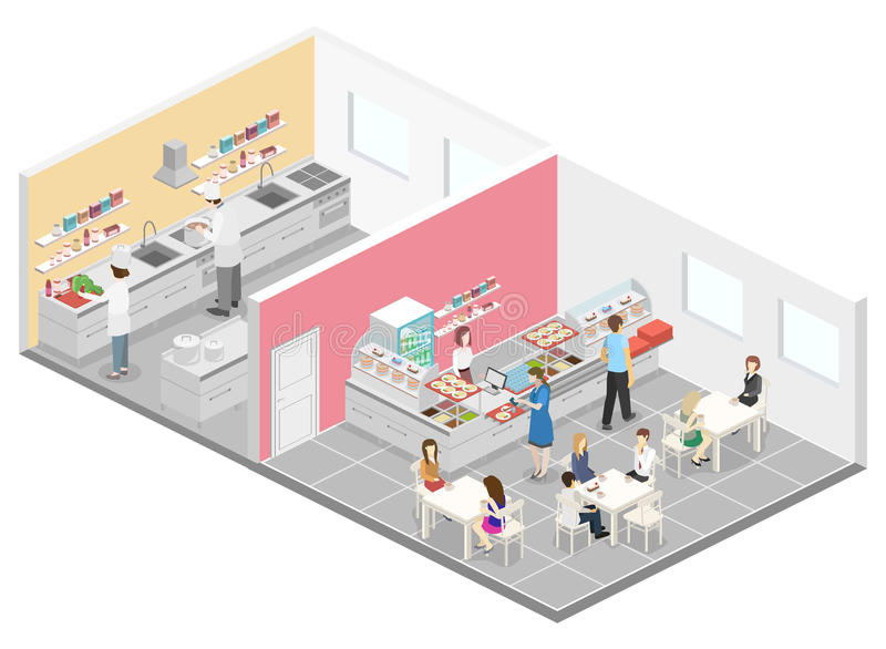 Isometric flat 3D interior of cafe, canteen and restaurant kitchen. stock illustration