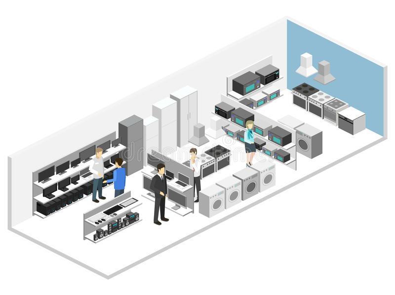 Isometric flat 3D interior household equipment store, computer shop. Isometric flat 3D concept cutaway interior household equipment store, computer shop vector illustration