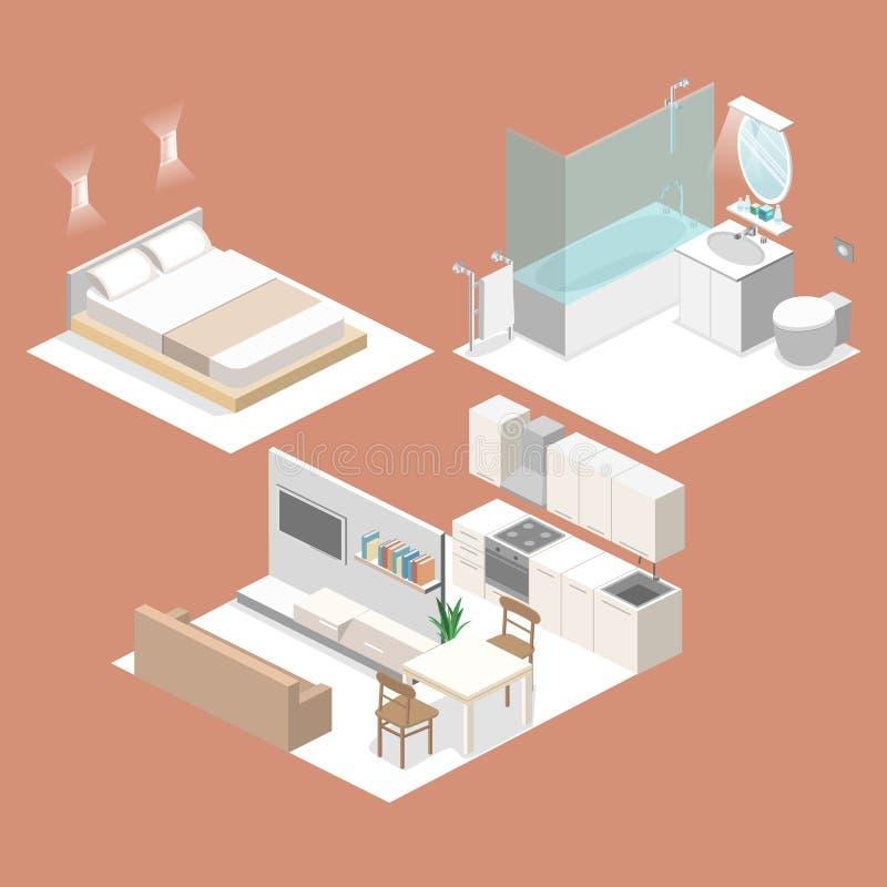 Download Isometric Flat 3d Interior Kitchen Bathroom