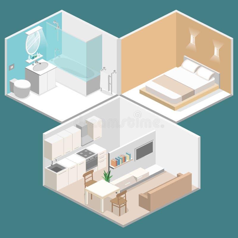 Download Isometric Flat 3D Interior Kitchen, Bathroom, Living Room Bedroom  Stock Illustration   Image Part 60