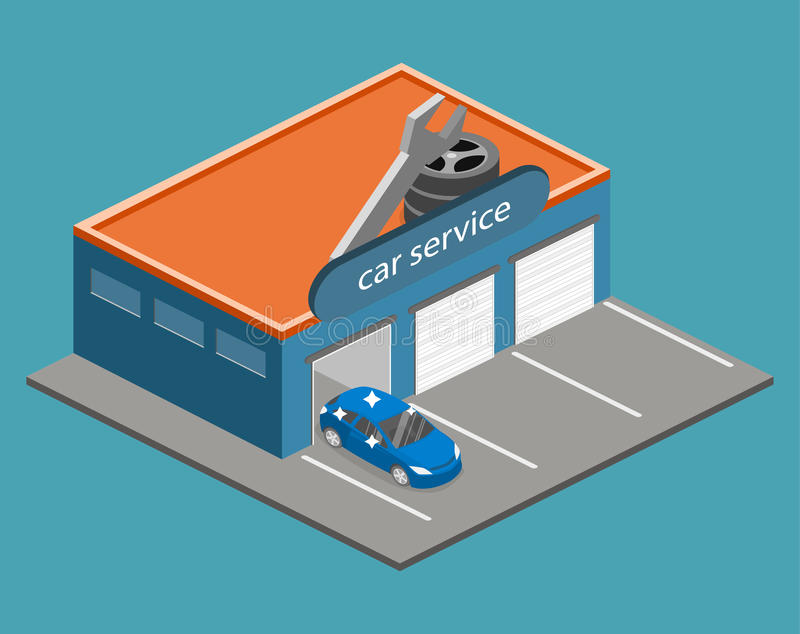 Isometric flat 3D isolated Car service building or car repair vector illustration