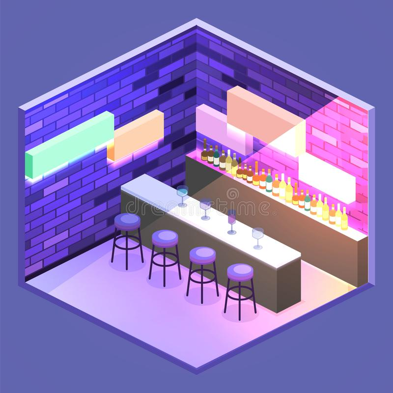 Isometric flat 3D isolated concept cutaway Bar in the nightclub. royalty free illustration