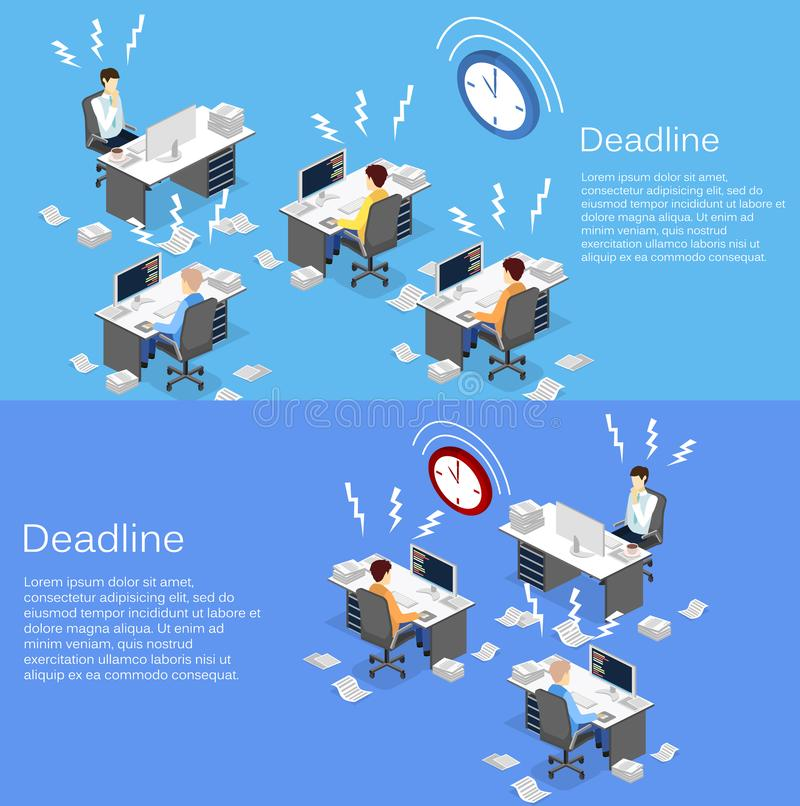 Isometric flat 3D isolated concept Deadline Concept of overworked man royalty free stock photos