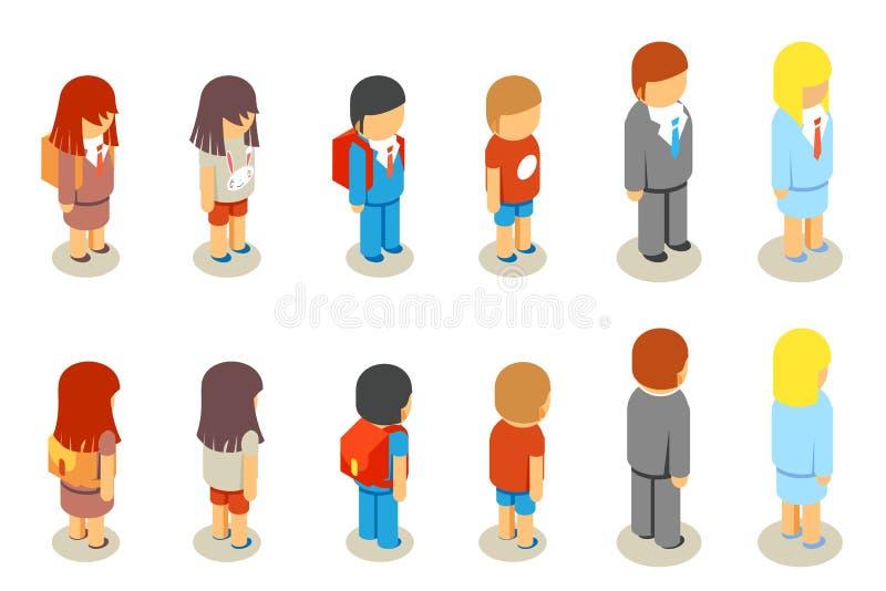 Isometric flat 3d school students and teacher vector illustration