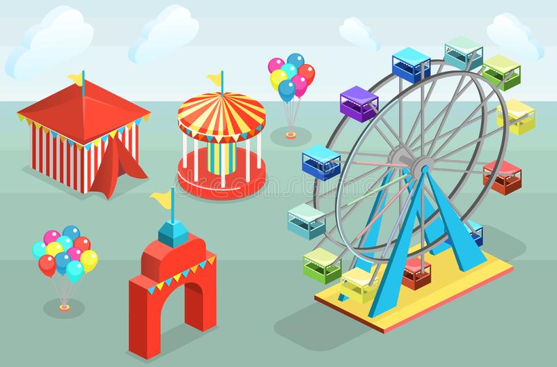 Isometric flat 3D vector city banners with carousels. amusement park royalty free stock photo