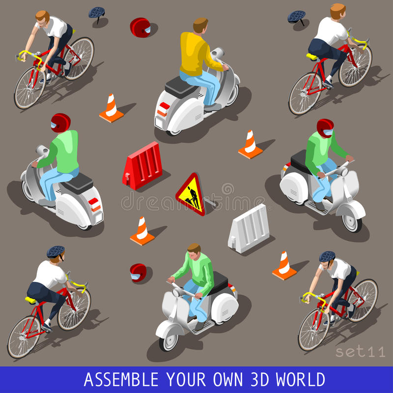 Isometric Flat 3d Vehicle Scooter Bicycle Set. Flat 3d isometric high quality vehicle tiles icon collection. Vespa scooter with driver. Assemble your own 3d stock illustration