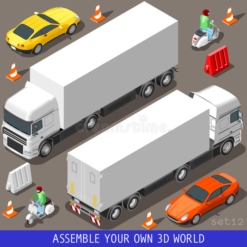 Isometric Flat 3d Vehicle Vespa Truck Set. Flat 3d isometric high quality vehicle tiles icon collection. Truck articulated lorry coupe car and vespa motor royalty free illustration